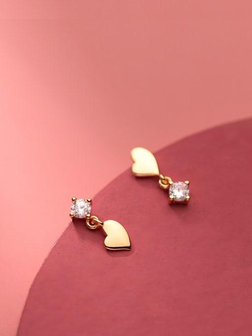 Rosh 925 Sterling Silver Cubic Zirconia Asymmetry Heart Minimalist Stud Earring