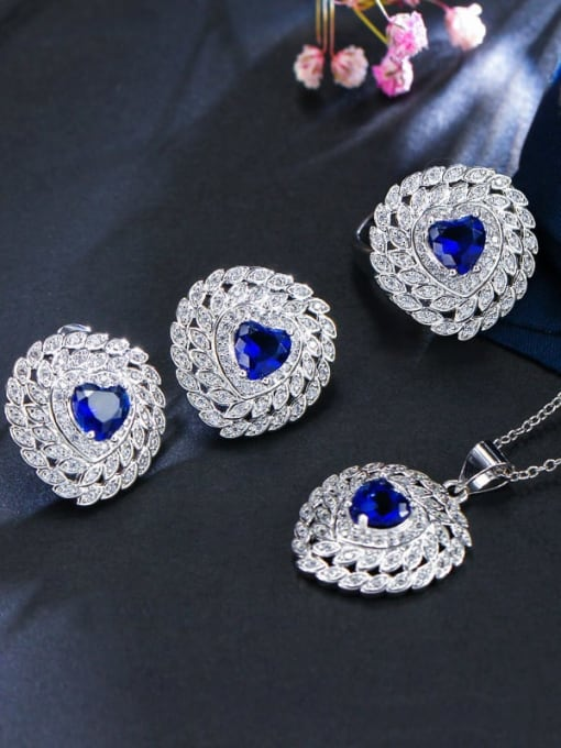 Dark blue ring size 7 Brass Cubic Zirconia Luxury Heart Earring Ring and Necklace Set