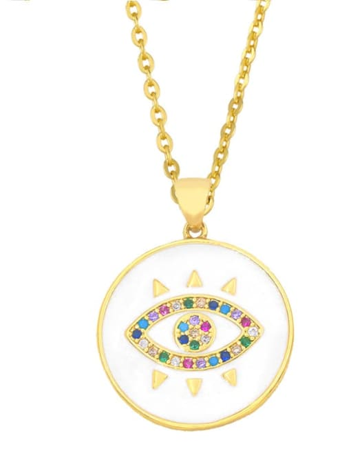 CC Brass Rhinestone Enamel Evil Eye Hip Hop Necklace