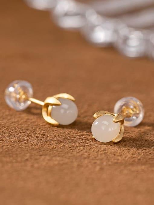 DEER 925 Sterling Silver Jade Cute Round Ball  Stud Earring 2