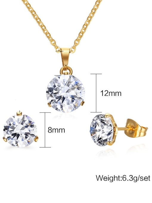 CONG Stainless steel Cubic Zirconia Minimalist Round  Earring and Necklace Set 1