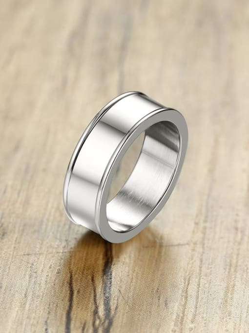 CONG Stainless steel Smooth Geometric Minimalist Band Ring 0