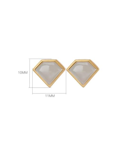 DEER 925 Sterling Silver Jade Triangle Vintage Stud Earring 2