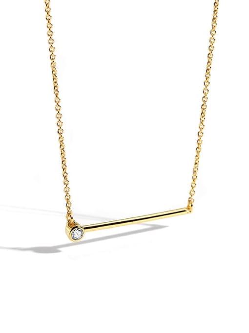 CHARME Brass Rhinestone Geometric Minimalist Necklace 2