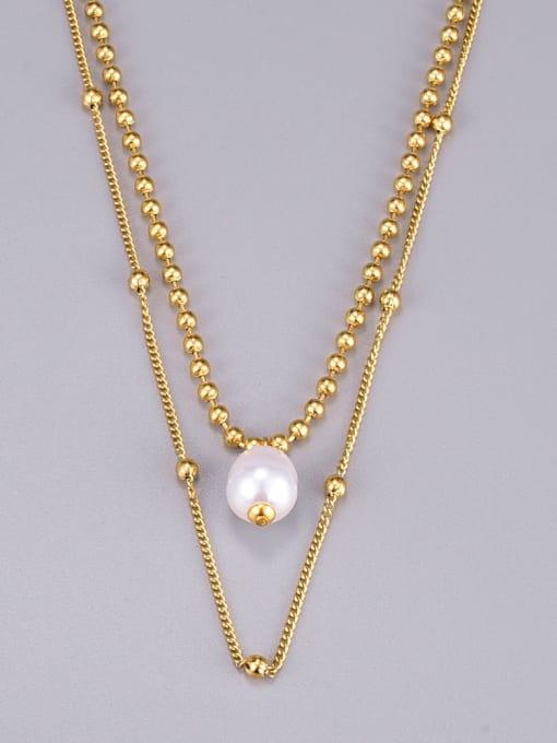 A TEEM Titanium Steel Imitation Pearl Round Vintage Multi Strand Necklace 2