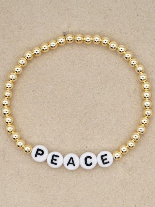 QT B200132C Stainless steel Bead Acrylic Letter Bohemia Beaded Bracelet
