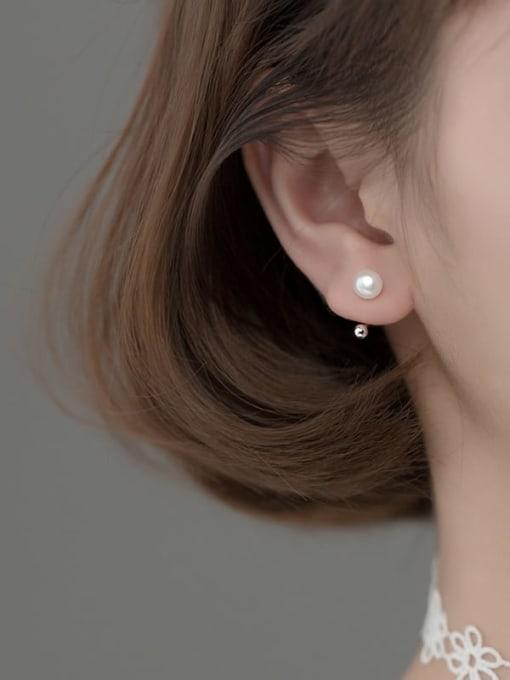 Rosh 925 Sterling Silver Imitation Pearl Irregular Minimalist Clip Earring 1