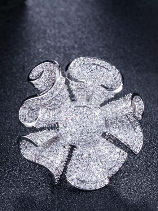 Platinum US 9 Brass Cubic Zirconia Flower Luxury Statement Ring