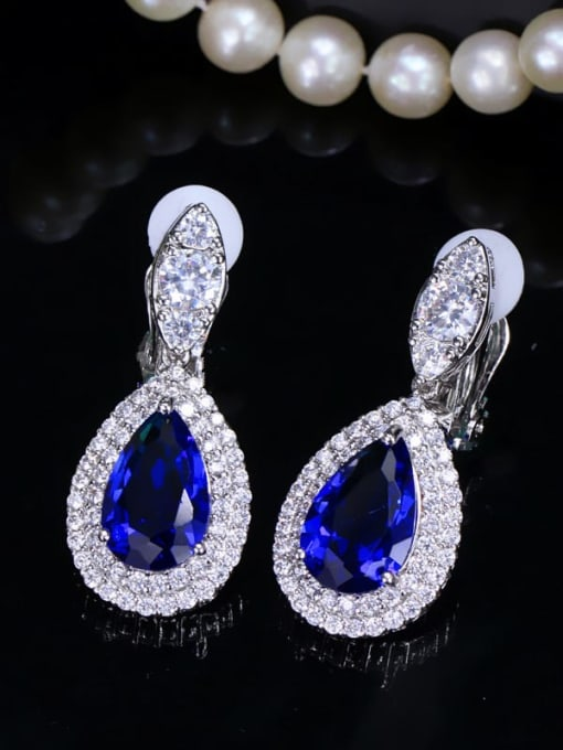 blue Brass Cubic Zirconia Water Drop Luxury Drop Earring