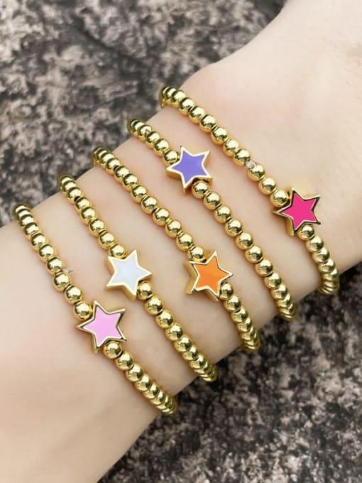 CC Brass Enamel Star Vintage Beaded Bracelet 1