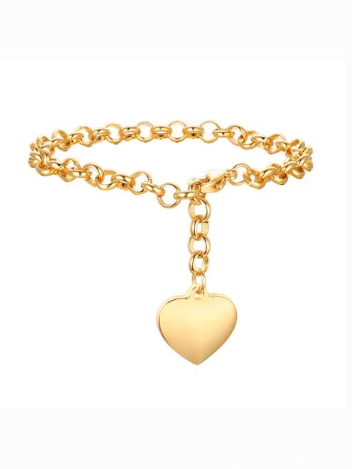 CONG Titanium Steel Heart Vintage Link Bracelet