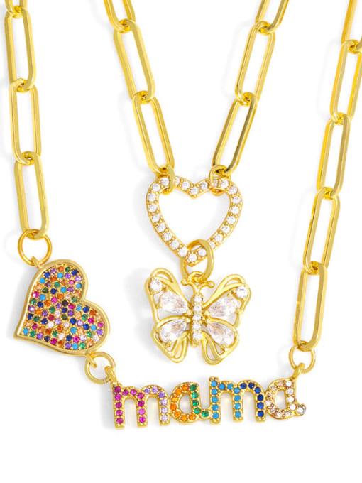 CC Brass Cubic Zirconia Letter Hip Hop Heart Pendant Necklace