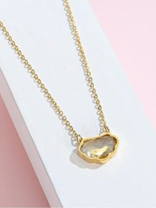 A TEEM Titanium Steel Glass Stone Cloud Minimalist Necklace 1