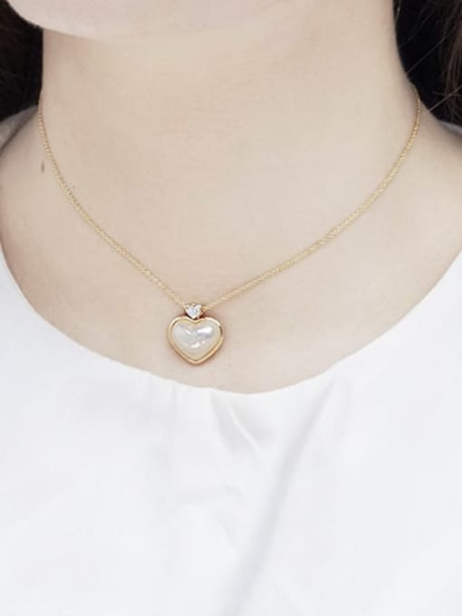 RAIN Brass Imitation Shell Pearl Geometric Minimalist Necklace 1