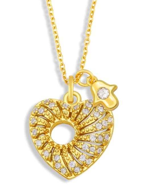 CC Brass Cubic Zirconia Heart Vintage Necklace 0