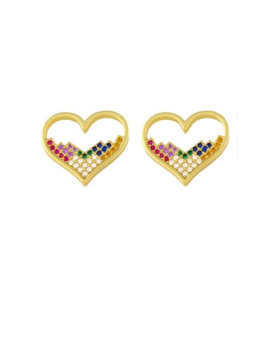 love Brass Cubic Zirconia Heart Vintage Stud Earring