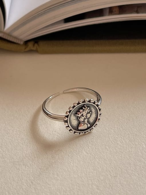 Portrait ring 1593  2.2g 925 Sterling Silver Hollow Irregular Vintage Band Ring