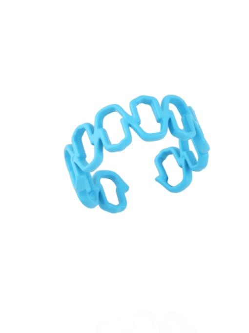 CC Brass Enamel Hollow Geometric Minimalist Band Ring 3