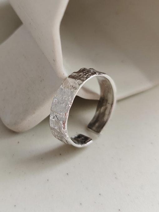 Boomer Cat 925 Sterling Silver Irregular Minimalist Band Ring 2