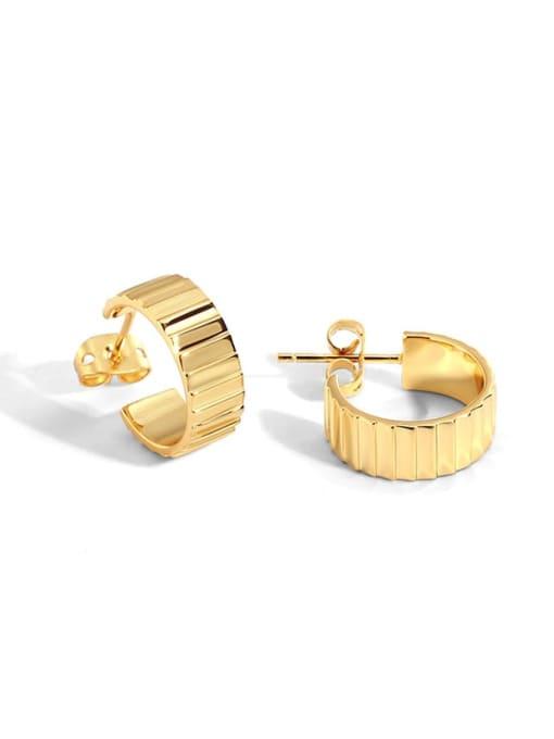 Gold plain gold earrings Brass Geometric Vintage Stud Earring