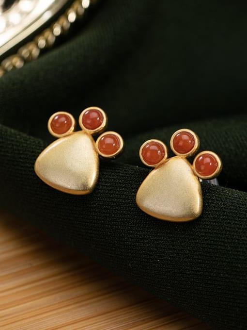 DEER 925 Sterling Silver Carnelian Triangle Vintage Stud Earring 0