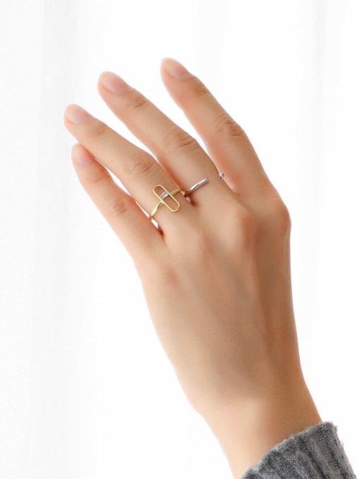 CHARME Brass Cubic Zirconia Geometric Minimalist Band Ring 2