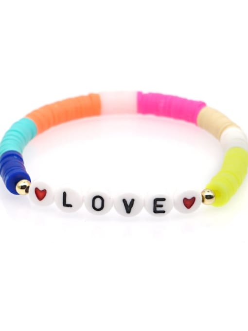 QT B200011M Stainless steel Multi Color Polymer Clay Letter Bohemia Stretch Bracelet