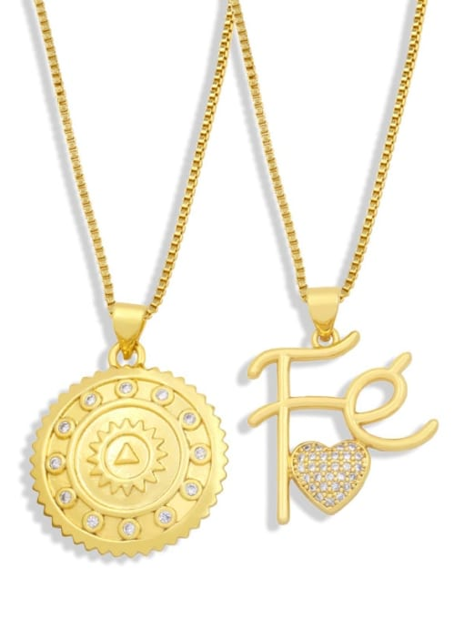 CC Brass Cubic Zirconia Letter Vintage Necklace 1