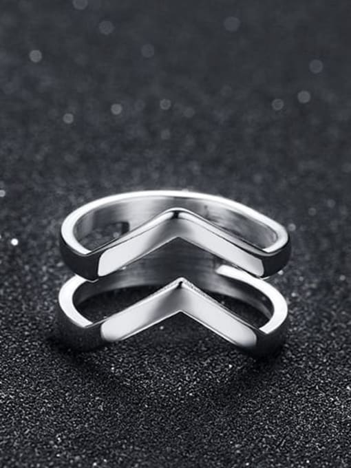 CONG Titanium Steel Geometric Minimalist Band Ring 2