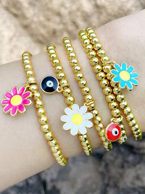 CC Brass Bead Enamel Flower Hip Hop Beaded Bracelet 4