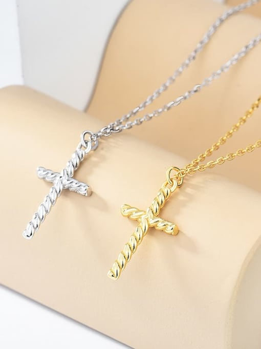 XBOX 925 Sterling Silver Cross Minimalist Pendant Necklace 1