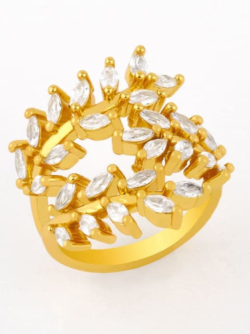 CC Brass Cubic Zirconia Leaf Vintage Band Ring 1