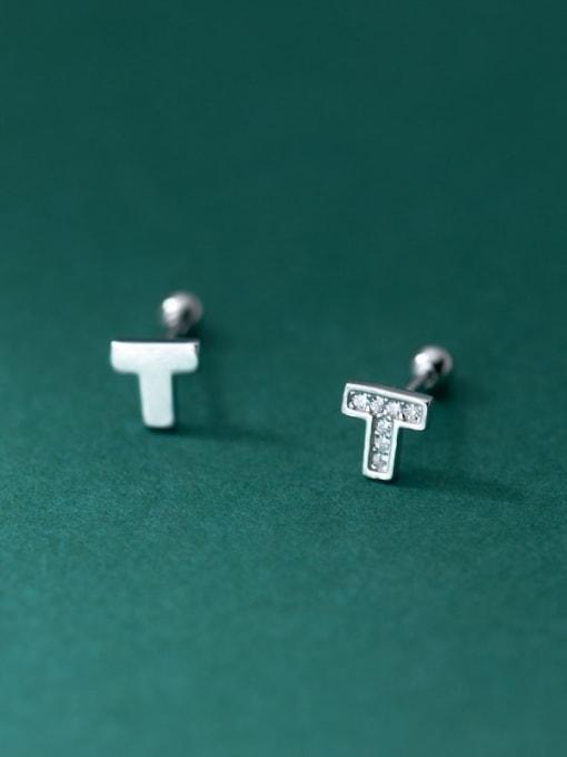 Rosh 925 Sterling Silver Cubic Zirconia Asymmetry  Cross Cute Stud Earring 2