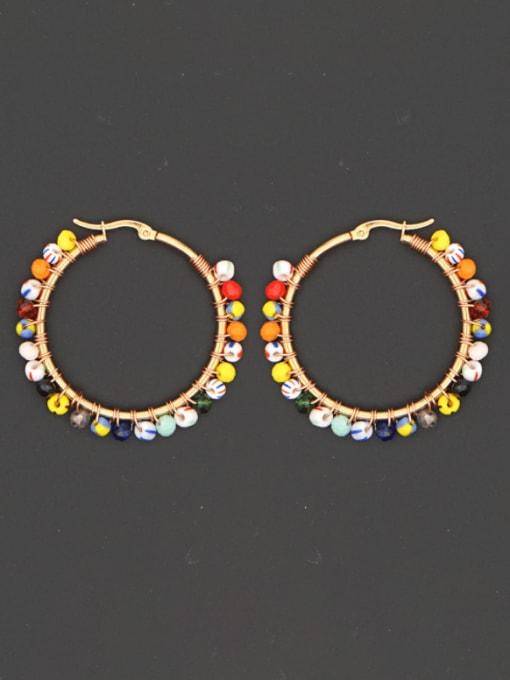 Roxi Stainless steel Bead Multi Color Geometric Bohemia Huggie Earring 0