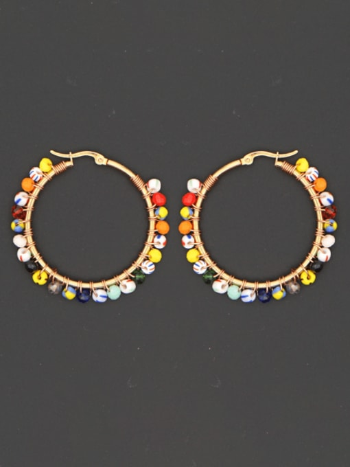 Roxi Stainless steel Bead Multi Color Geometric Bohemia Huggie Earring
