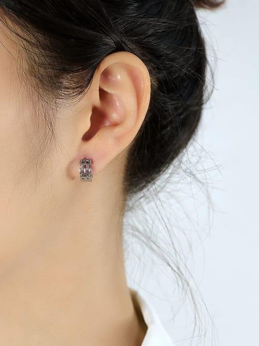Open Sky Titanium Steel Geometric Hip Hop Huggie Earring 1
