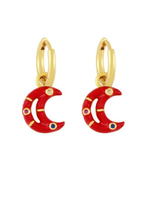 red Brass Enamel Moon Hip Hop Huggie Earring
