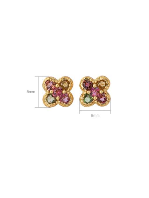 DEER 925 Sterling Silver Malchite Clover Ethnic Stud Earring 4