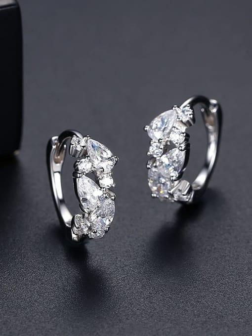 CCUI 925 Sterling Silver Cubic Zirconia Geometric Trend Huggie Earring 3