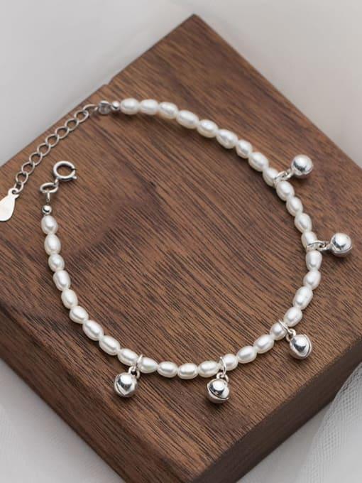 Rosh 925 Sterling Silver Imitation Pearl Bell Minimalist Beaded Bracelet 3