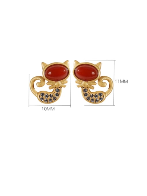 DEER 925 Sterling Silver Carnelian Cat Cute Stud Earring 2