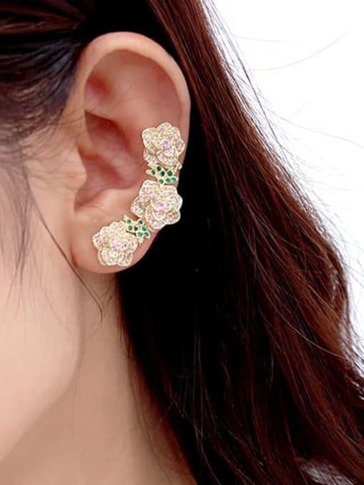 Luxu Brass Cubic Zirconia Flower Ethnic Clip Earring 2
