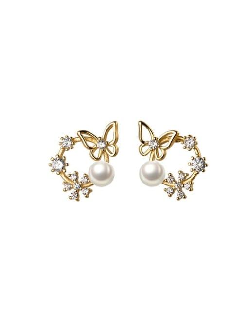 Rosh 925 Sterling Silver Rhinestone Flower Dainty Stud Earring 4