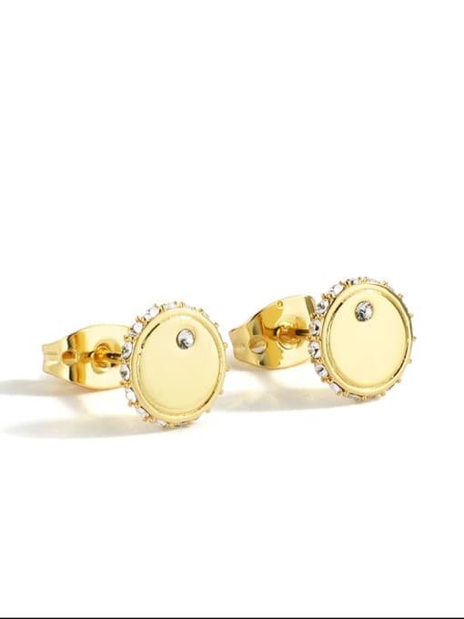 Gold Round Earrings Brass Cubic Zirconia Round Minimalist Stud Earring