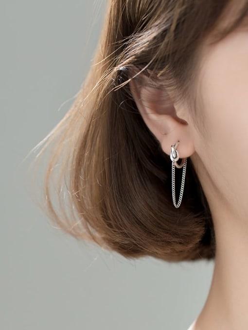 Rosh 925 Sterling Silver Tassel Vintage Huggie Earring 1