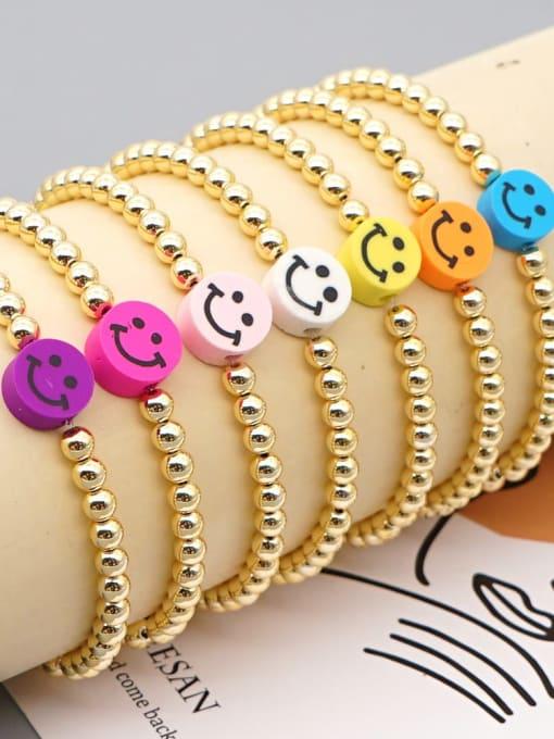 Roxi Stainless steel Polymer Clay Smiley Bohemia Beaded Bracelet