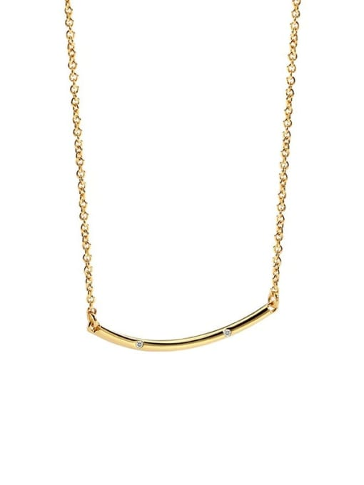 CHARME Brass Rhinestone Geometric Minimalist Necklace 4