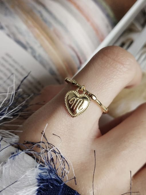 Boomer Cat 925 Sterling Silver Heart Letter Vintage Band Ring 2