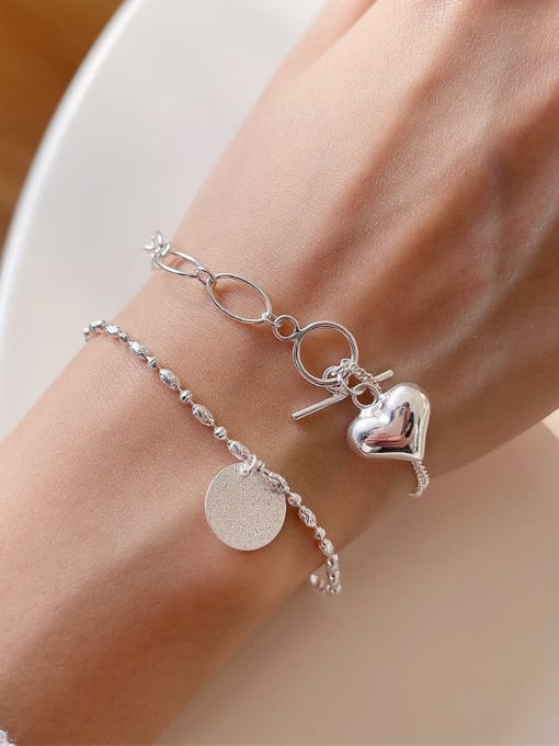 Boomer Cat 925 Sterling Silver Heart Minimalist Link Bracelet 1