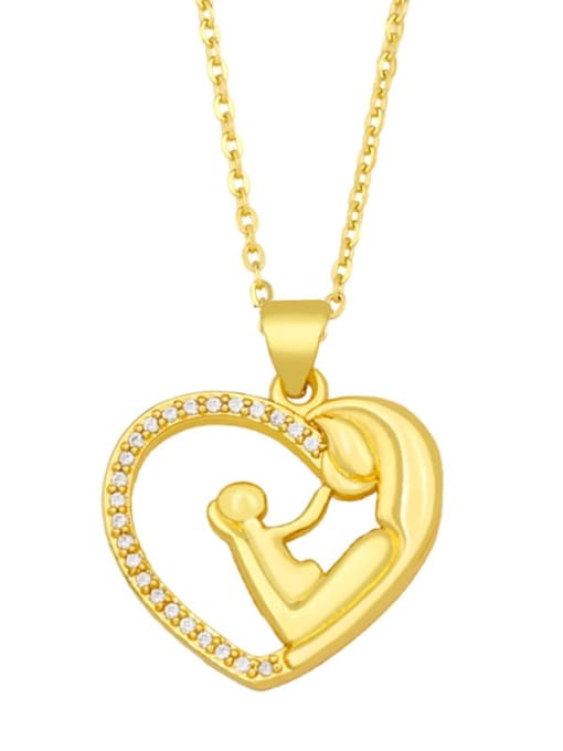A Brass Cubic Zirconia Hollow Heart Vintage Necklace